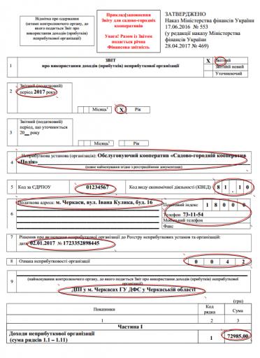 пример заполнения бланков отчетности